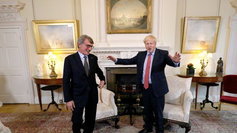 Boris Johnson meets with European Parliament President David Sassoli, at Downing Street
