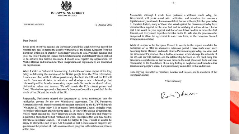Boris Johnson wrote this signed, personal letter to Donald Tusk