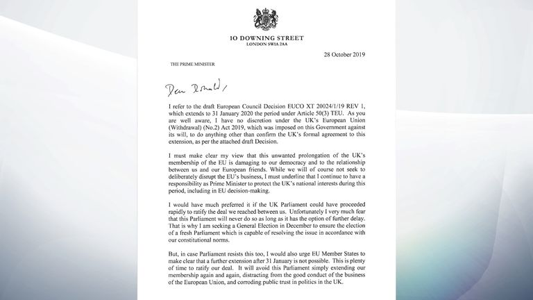 Boris Johnson's letter to Donald Tusk accepting a three-month Brexit delay