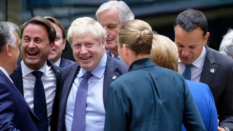 Boris Johnson pictured with EU leaders in Brussels