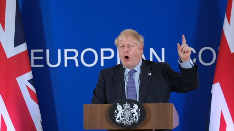 Boris Johnson gives a statement to the media