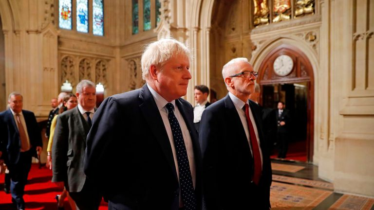 Boris Johnson and Jeremy Corbyn head the procession of MPs into the Lords to listen to the Queen's Speech