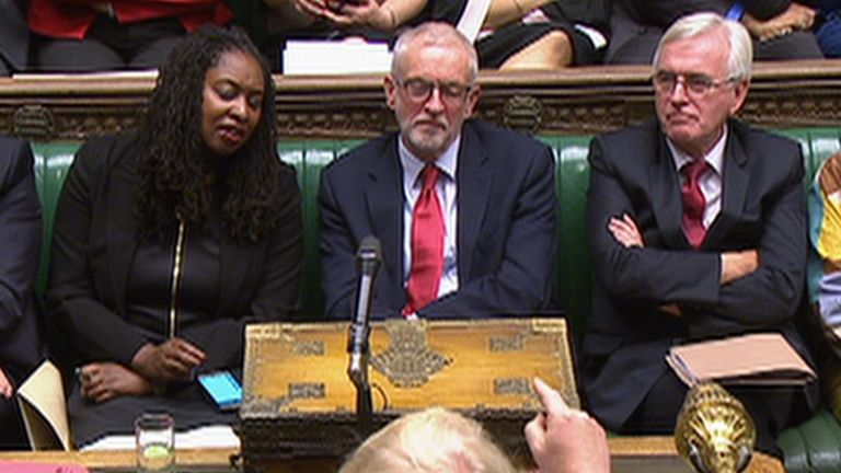 Boris Johnson points the finger at the opposition frontbench