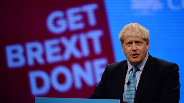 Boris Johnson delivers his keynote speech