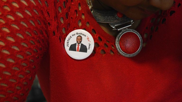 Botham Jean's mother wore a pin with his image on throughout the trial