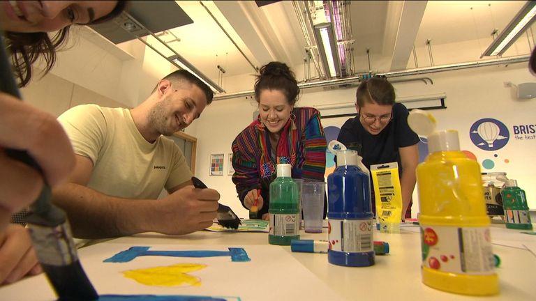 Peoples' Vote campaigners preparing in Bristol.