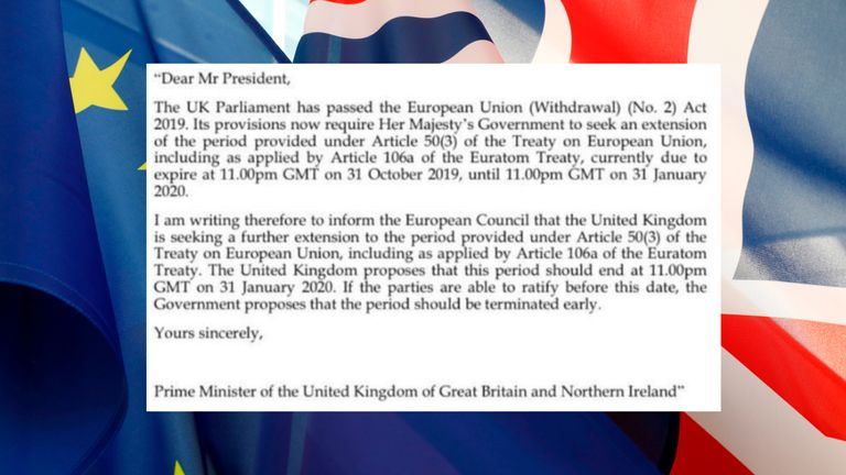 The letter requesting a Brexit extension was not signed by Boris Johnson