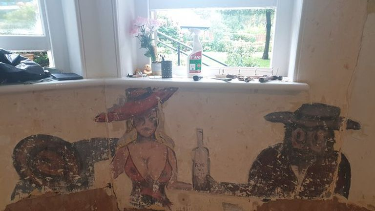 The mural discovered under chipboard in a Bristol care home. Pic: Hartford Care