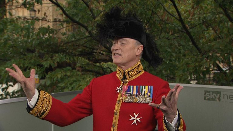Alastair Bruce dresses up for the queens speech.