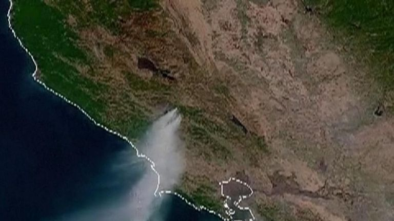 NOAA image shows California fires from space