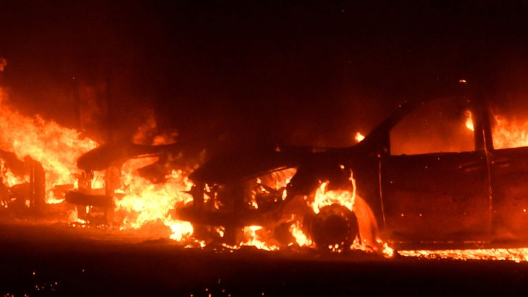 Cars destroyed by a wind-driven wildfire called the Saddle Ridge fire are seen in Porter Ranch, California, U.S., October 11, 2019. REUTERS/Gene Blevins