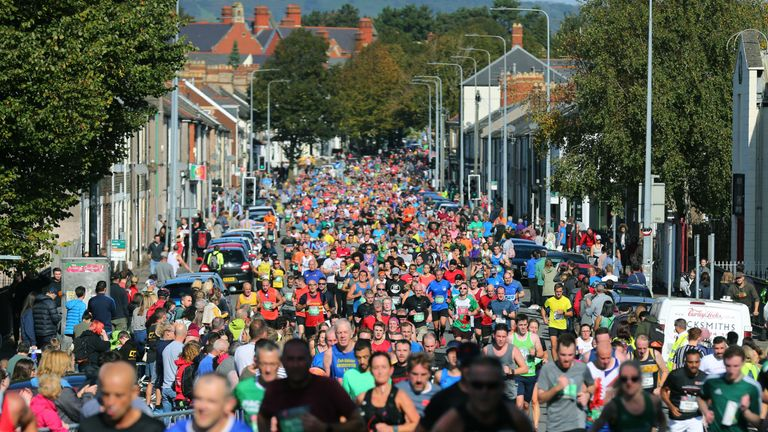 A general view of the competitors during the Cardiff Half Marathon on October 6, 2019 in Cardiff, Wales