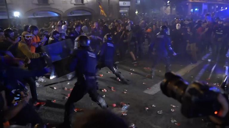 Police and violent protesters in Spain's restive Catalonia region clashed on Saturday after a massive rally in Barcelona against the imprisonment of nine separatist leaders for their roles in an illegal 2017 secession bid.