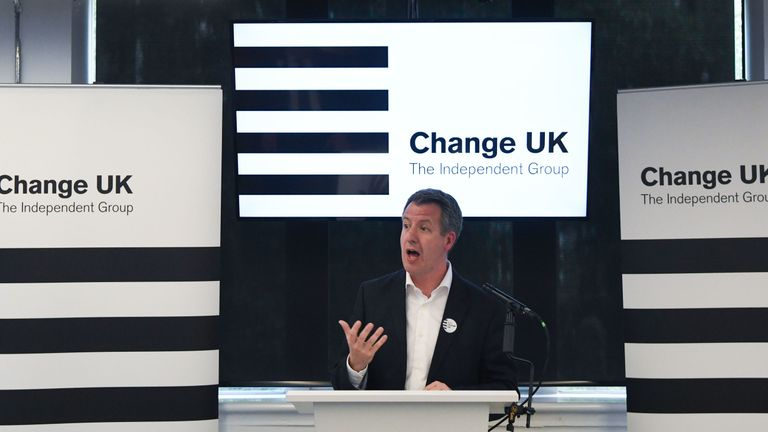 Change UK MP Chris Leslie speaks during a European Parliament election campaign rally at the Manchester Technology Centre in Manchester, northwest England, on May 21, 2019. - Despite voting in a referendum to leave the European Union in 2016 Britain is braced to take part in the European Parliament election on May 23. (Photo by Paul ELLIS / AFP) (Photo credit should read PAUL ELLIS/AFP/Getty Images)