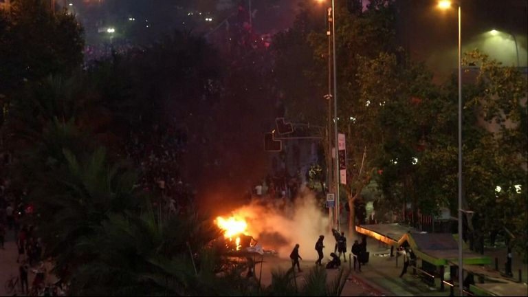 Violent protests rocked Santiago on Friday (October 25) evening with molotov cocktails and tear gas canisters flying through the air after a mostly peaceful march by an estimated million people earlier in the day.