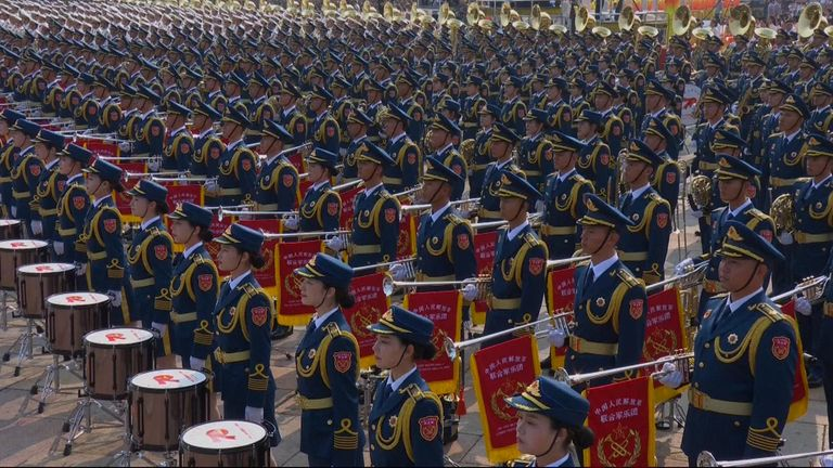 About 15,000 soldiers are at the parade in central Beijing