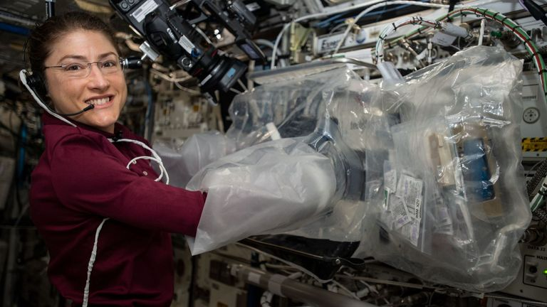 Christina Koch aboard the International Space Station, August 2019. Courtesy: NASA