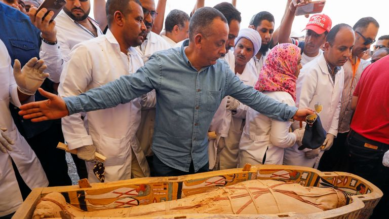 The coffins were found in the Asasif Necropolis on the River Nile's west bank near Luxor