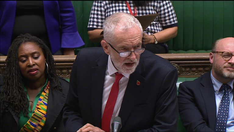 Jeremy Corbyn laid into the prime minister over his 'broken promises' and for spending £100m on Brexit advertising