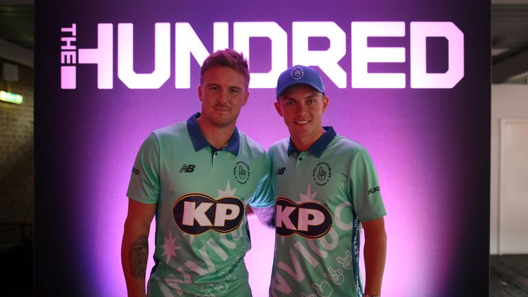 Jason Roy and Sam Curran of the Oval Invincibles