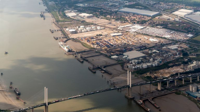 The industrial park is located near the Dartford Crossing, linking Kent and Essex. File pic