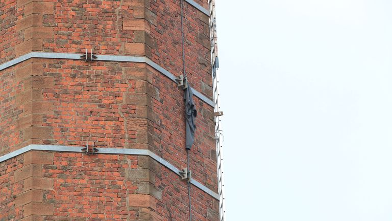 An item of clothing was caught on some metal work next to a ladder which Carlisle City Council said was temporary
