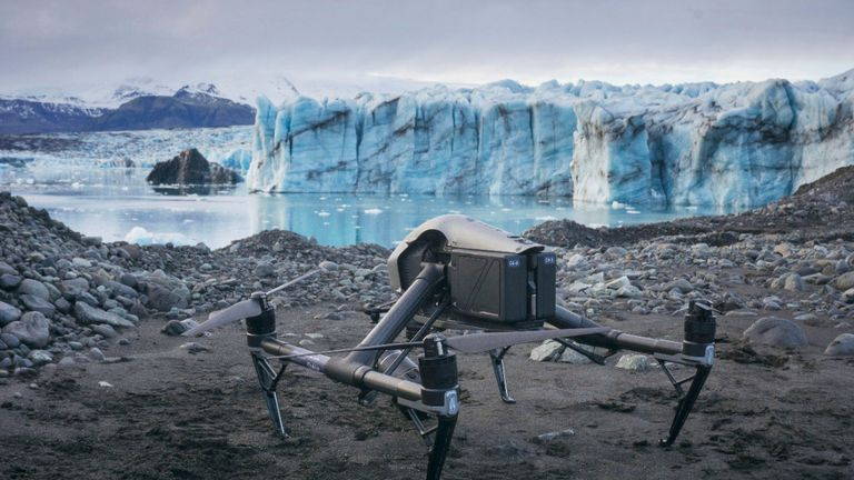 Drone photography modelled in 3D uses special software to show the scale of ice loss in Iceland