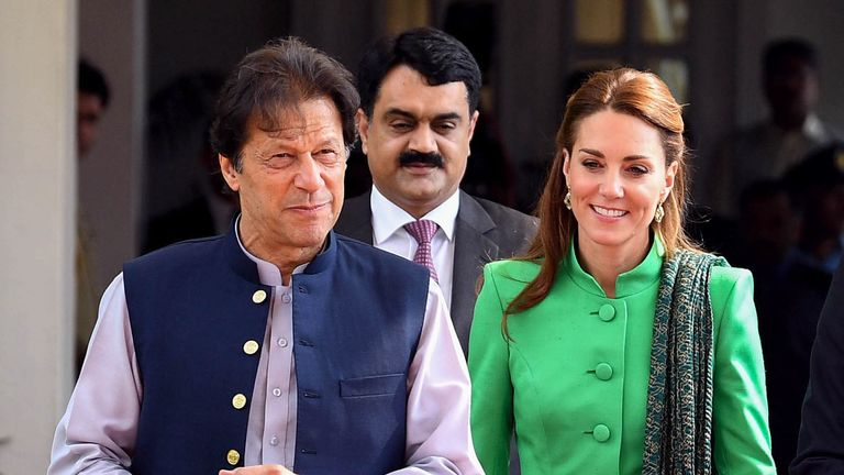 The Duchess of Cambridge with Pakistan's prime minister Imran Khan in Islamabad