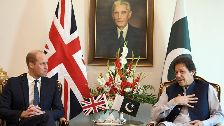 Duke and Duchess of Cambridge Royal Tour of Pakistan-Day Two.Prince William, The Duke of Cambridge accompanied by his wife Catherine, The Duchess of Cambridge, visit The Prime Minister of Pakistan Imran Khan in central Islamabad, Pakistan, on day two of their five day tour of the country