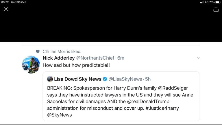 Nick Adderley's tweet about the Harry Dunn case