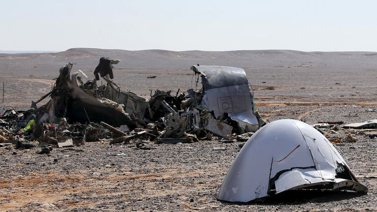 Debris from the Airbus 321 which was bombed by Islamic State