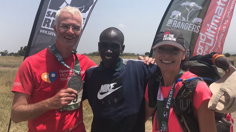 Enda Brady, Eliud Kipchoge and Liz Winton
