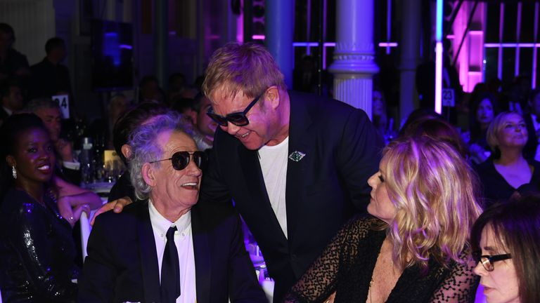 Elton John and Keith Richards attend the GQ Men Of The Year Awards at The Royal Opera House on 8 September 2015 in London
