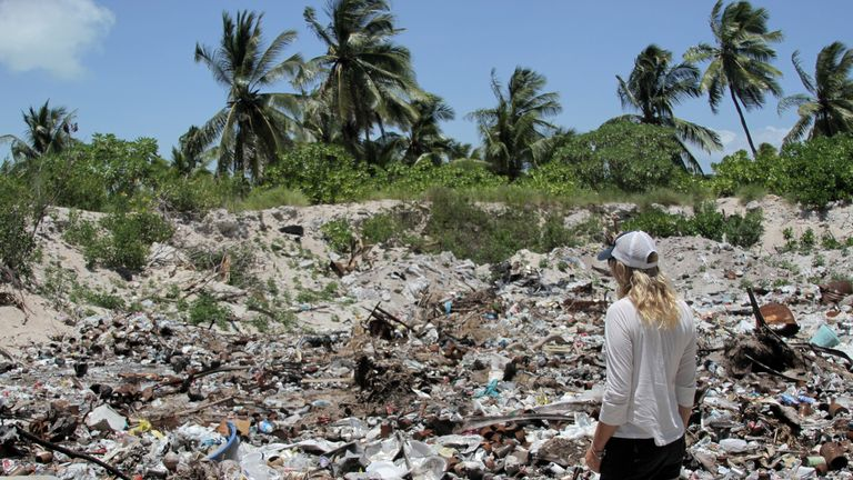 Emily Penn inspects plastic pollution dumped in Kiribati in the Pacific Ocean