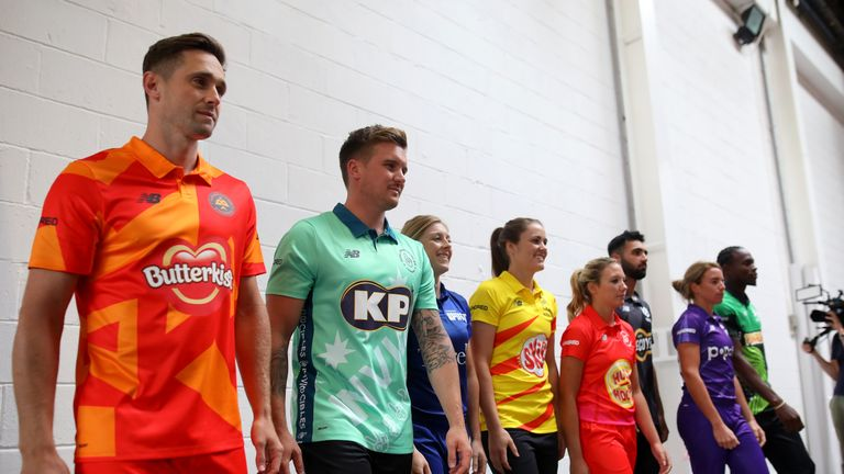 Left to right: Chris Woakes, Jason Roy, Heather Knight, Nat Sciver, Katie George, Saqib Mahmood, Lauren Winfield and Jofra Archer will represent the eight men's and women's teams in The Hundred. Pic: ECB