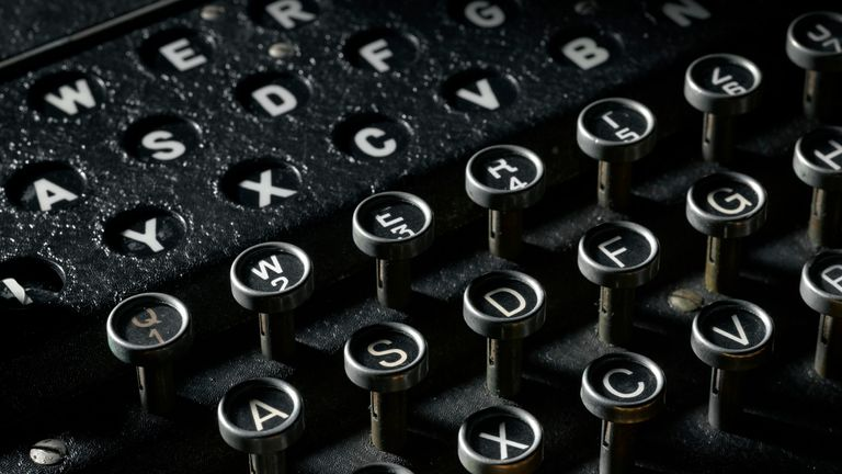 An enigma machine is on display at the Science Museum