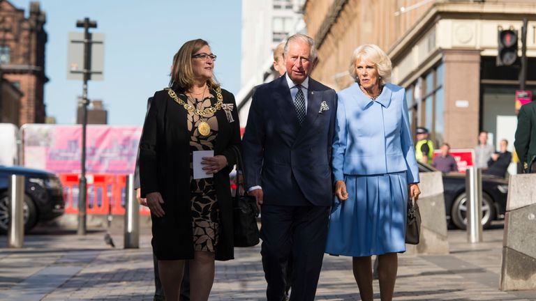 The Prince of Wales and the Duchess of Cornwall with Lord Provost Eva Bolander