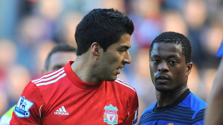 Suarez (left) was handed an eight-match ban over the incident