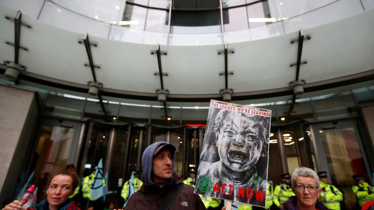 Extinction Rebellion protesters prevented staff entering BBC headquarters in London