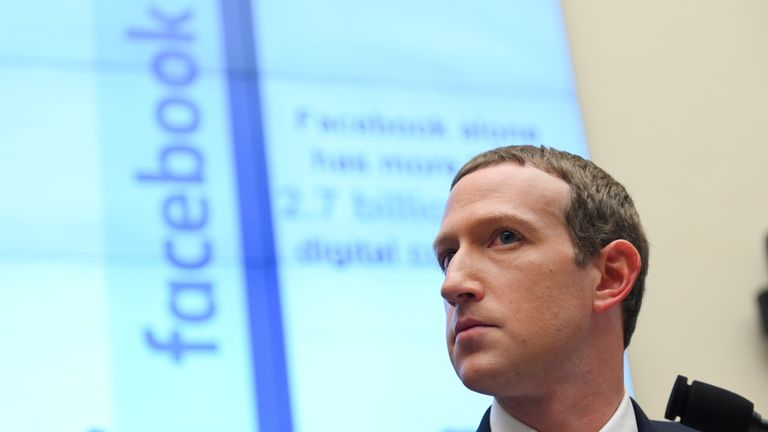 Facebook Chairman and CEO Zuckerberg testifies at a House Financial Services Committee hearing in Washington.