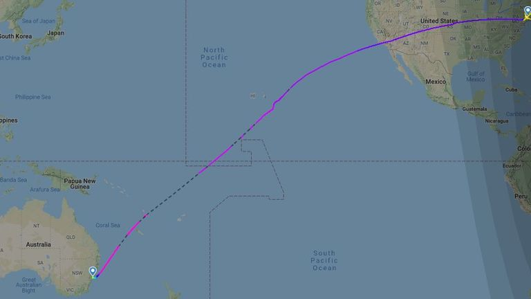 The flight path of the world's longest direct flight. Pic: Flight Radar
