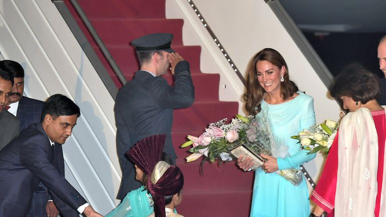 The royals were greeted with flowers upon their arrival