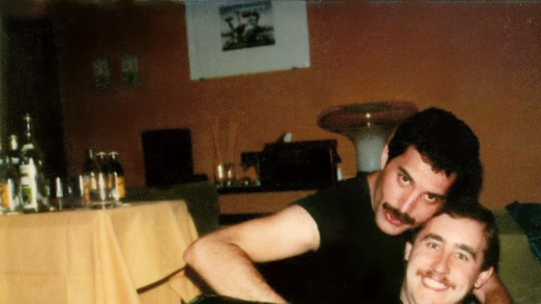 Queen star Freddie Mercury and his friend and PA Peter 'Phoebe' Freestone