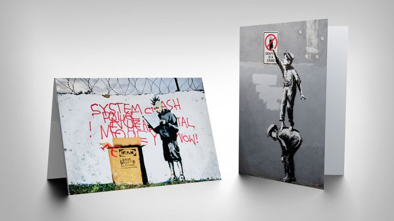 Full Colour Back has made cards using images of Banksy artworks