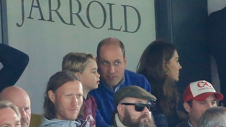 Prince George of Cambridge, Prince William, Duke of Cambridge and Catherine, Duchess of Cambridge are seen in the stands during the Premier League match between Norwich City and Aston Villa at Carrow Road on October 05, 2019 in Norwich, United Kingdom
