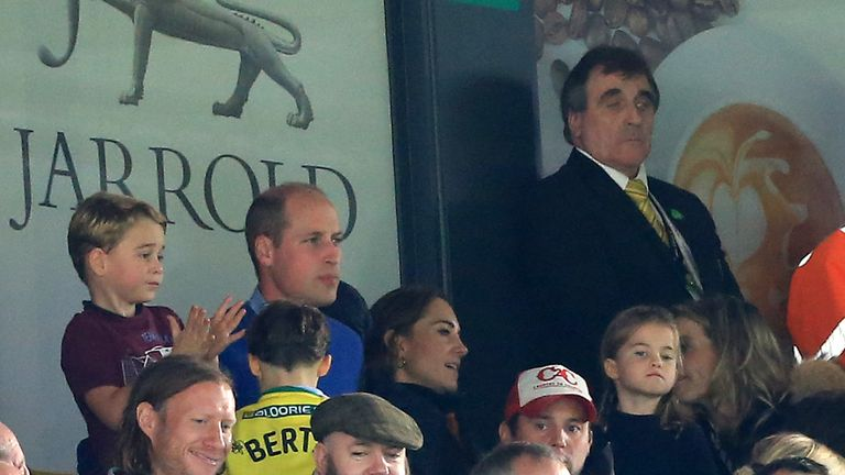 Prince George of Cambridge, Prince William, Duke of Cambridge and Catherine, Duchess of Cambridge are seen in the stands during the Premier League match between Norwich City and Aston Villa at Carrow Road on October 05, 2019