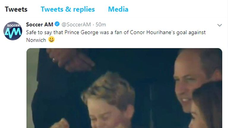 Prince George cheering on Aston Villa at Carrow Road in Norwich. Pic: Soccer AM