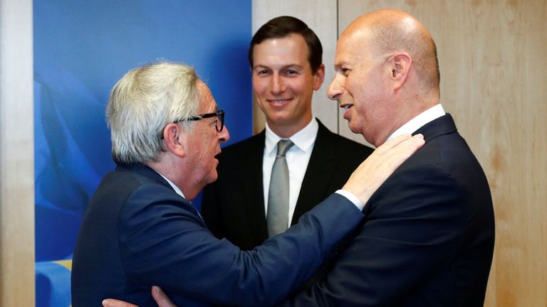 Mr Sondland (right) with European Commission chief Jean-Claude Juncker and President Trump's son-in-law, Jared Kushner
