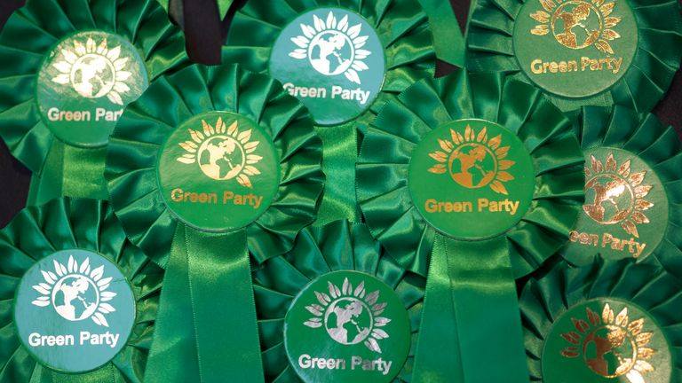 NEWPORT, WALES - OCTOBER 04: Green Party merchandise seen during the Green Party Autumn Conference at the International Convention Centre Wales on October 4, 2019 in Newport, Wales. The Green Party gained nearly 200 new councillors during the local elections in May, taking the number to 362 councillors on 122 councils, and saw its number of MEPs rise from three to seven. The party opposes Brexit and supports a second referendum. (Photo by Matthew Horwood/Getty Images)