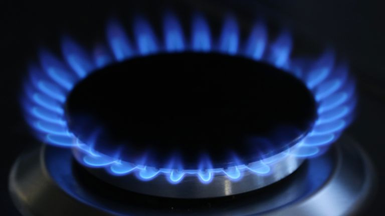 A general view of a gas hob burning